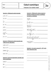 Puissance d'un nombre relatif - 3ème - Exercices corrigés - Calcul numérique
