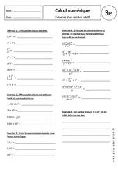 Puissance d'un nombre relatif - Exercices corrigés - 3ème - Calcul numérique