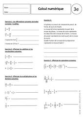 Écritures fractionnaires – 3ème – Exercices corrigés – Calcul numérique