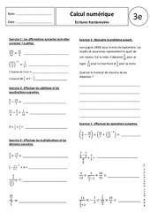 Écritures fractionnaires – Exercices corrigés – 3ème - Calcul numérique