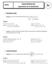 Distributivité – 3ème – Cours – Calcul littéral