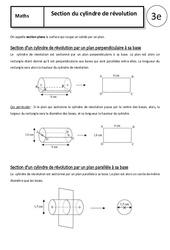 Section du cylindre de révolution – Cours – 3ème – Géométrie