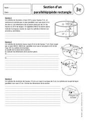 Section d'un parallélépipède rectangle – Exercices corrigés – 3ème – Section du cylindre de révolution