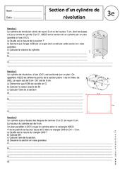 Section d'un cylindre de révolution – 3ème - Exercices corrigés – Géométrie