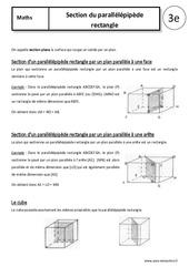 Section du parallélépipède rectangle – Cours – 3ème – Géométrie
