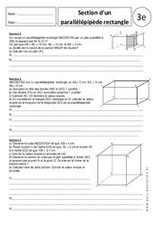Section du parallélépipède rectangle – Exercices corrigés – 3ème – Géométrie