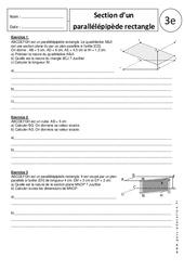 Section du parallélépipède rectangle – 3ème - Exercices corrigés – Géométrie