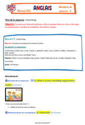 School things - Ce2 - Anglais - Famille Vadrouille