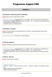 Programmation Annuelle - Cm2 - Anglais - Sommaire - Famille Vadrouille