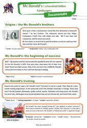 McDonald's: a hundred billion hamburgers – Cm2 – Anglais – Famille Vadrouille