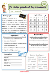 Cahiers de vacances à imprimer - Cm1 vers le Cm2 - Semaine 4 - Juillet