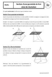 Section d'une pyramide et d'un cône de révolution – Cours – 3ème – Géométrie dans l'espace