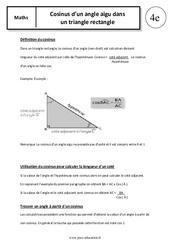 Cosinus d'un angle aigu dans un triangle rectangle – 4ème – Cours – Trigonométrie
