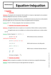 Equation  - Inéquation - 4ème - Cours