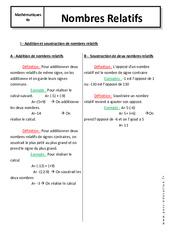 Nombres Relatifs - 4ème - Cours