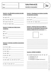 Identités remarquables – Calcul littéral – Exercices corrigés – 3ème
