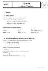 Systèmes d'équations – 3ème – Cours – Equations