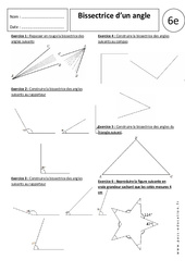 Bissectrice d'un angle - 6ème - Exercices corrigés - Angles