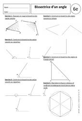 Bissectrice d'un angle - Exercices corrigés - 6ème - Angles