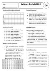 Critères de divisibilité - Exercices corrigés – 6ème - Divisions