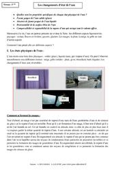 Changements d'état de l'eau – Cours – 5ème – Physique – Chimie – Collège