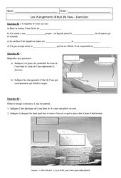 Changements d'état de l'eau – Exercices corrigés – 5ème – Physique – Chimie – Collège
