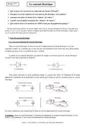 Courant électrique – Cours – 5ème – Physique – Chimie – Collège