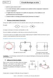Circuit électrique en série – Cours – 5ème – Physique – Chimie – Collège
