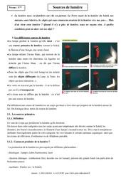 Sources de lumière – Cours – 5ème – Physique – Chimie – Collège