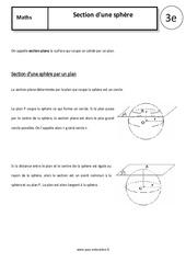 Section d'une sphère – 3ème – Cours – Géométrie dans l'espace – Collège