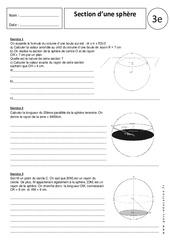 Section d'une sphère - 3ème - Exercices corrigés - Géométrie dans l'espace - Collège