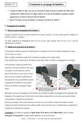 Comment se propage la lumière – Cours – 5ème – Physique – Chimie – Collège