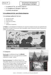 Environnement et développement durable protégeons l'atmosphère – Cours – 4ème – Physique – Chimie – Collège