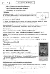 Tension électrique – Cours – 4ème – Physique – Chimie – Collège
