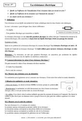 Résistance électrique – Cours – 4ème – Physique – Chimie – Collège