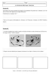 Résistance électrique –  Exercices corrigés – 4ème – Physique – Chimie – Collège
