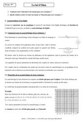Loi d'Ohm – Cours – 4ème – Physique – Chimie – Collège