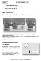 Volume – Masse de l'air – Cours – 4ème – Physique – Chimie – Collège