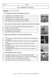 Combustions – Exercices corrigés – 4ème – Physique – Chimie – Collège