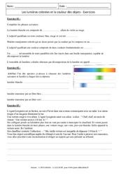 Lumières colorées – Couleur des objets – Exercices corrigés – 4ème – Physique – Chimie – Collège
