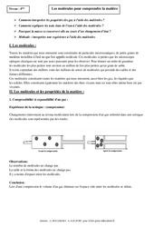 Molécules pour comprendre la matière – Cours – 4ème – Physique – Chimie – Collège