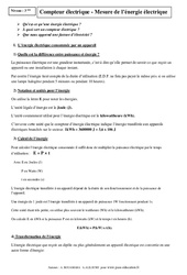 Compteur électrique – Mesure de l'énergie électrique – 3ème – Cours – Physique – Chimie – Brevet des collèges