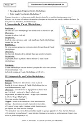 Réaction entre l'acide chlorhydrique et le fer – 3ème – Cours – Physique – Chimie - Brevet des collèges