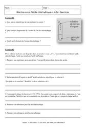 Réaction entre l'acide chlorhydrique et le fer – 3ème – Exercices corrigés – Physique – Chimie – Collège