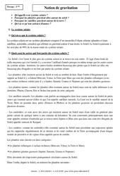 Notion de gravitation – 3ème – Cours – Mécanique - Physique – Chimie - Brevet des collèges
