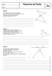 Théorème de Thalès – Exercices corrigés – 3ème – Géométrie – Brevet des collèges