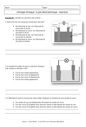 Energie chimique – Pile électrochimique – 3ème – Exercices corrigés – Physique – Chimie – Collège