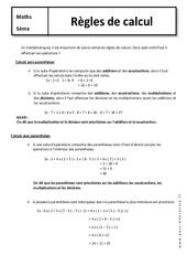 Règles de calcul – Cours – 5ème – Mathématiques – Collège
