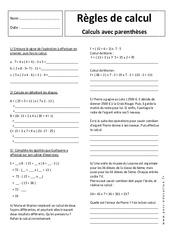Règles de calcul avec parenthèses - Exercices corrigés - 5ème