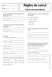 Règles de calcul sans parenthèse - 5ème - Exercices corrigés